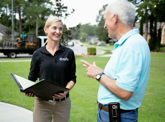 SkyFrog Landscape speaking to a client
